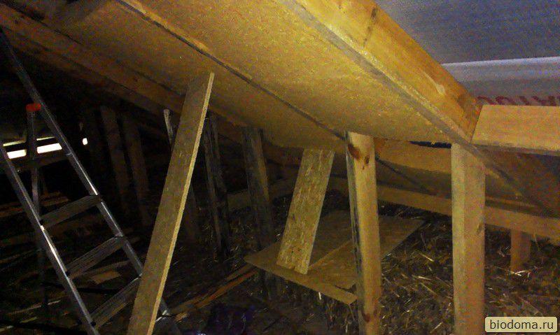 Утепление мансарды древесными матами Steico