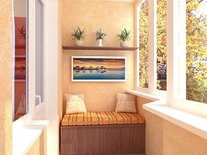 Кушетка и полочки на балконе