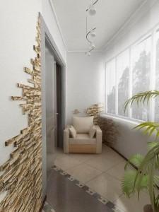 """Кресло на балконе и """"каменные"""" стены"""