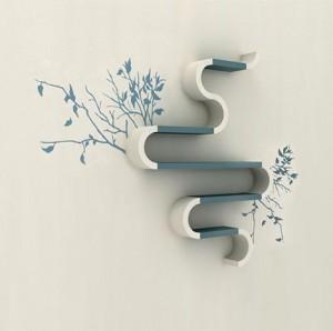 Книжная полочка в эко-стиле с наклейками на стене
