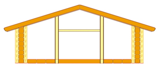 Схема этажа, возведенного из панелей малой себестоимости