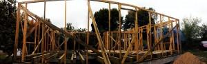 Первая панорама первого наружного каркаса в будущем соломенном доме:)