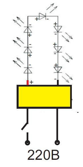 Схема подключения светодиодов в фито-лампе