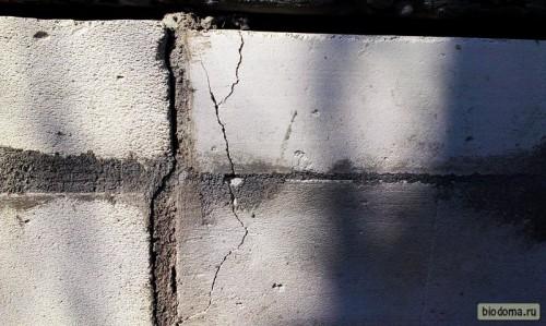 Трещины на газосиликатных блоках