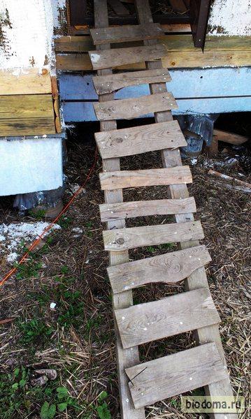 Самодельная деревянная лестница вместо ступенек