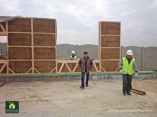 Первые соломенные панели в стене