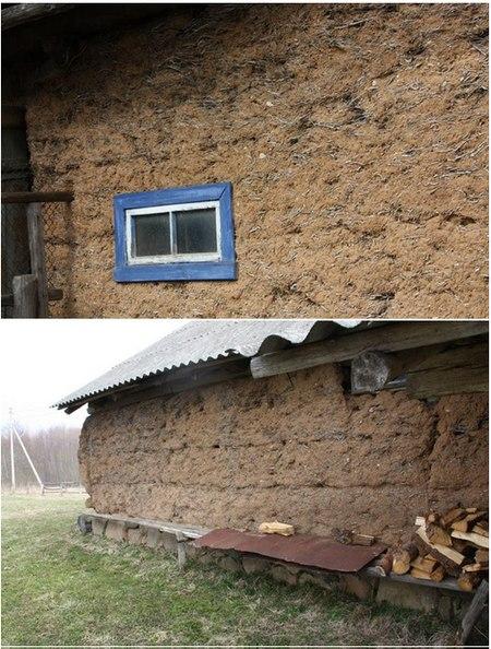 Старый белорусский дом из самана в Островецком районе