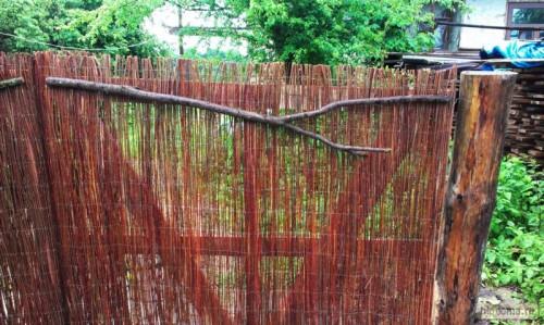 Необработанная ветка как украшение на заборе