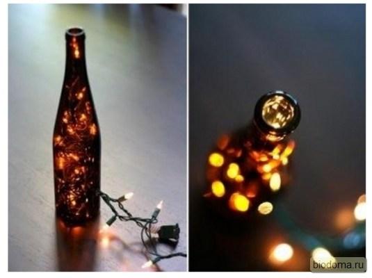 Бутылка лампа с огоньками внутри
