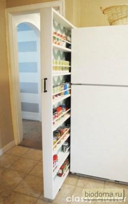 Выдвижной шкафчик за холодильник