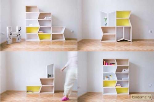 Здесь сразу 4 фото, на которых четко видно, как меняется восприятие комнаты, когда мы просто переставляем ящики местами