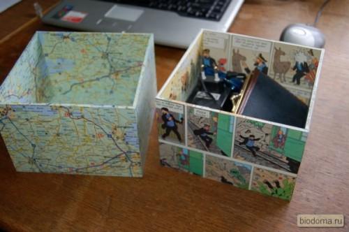 Здесь на фото даже не ящик, а старая коробка, которую оклеили такими же б/у географическими картами - получилась стильная коробка-ящик для письменных принадлежностей