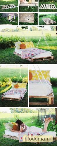 Подвесная кровать из паллет как альтернатива гамаку. Такая простая идея и такая прикольная - нужно только дерево покрепче найти))