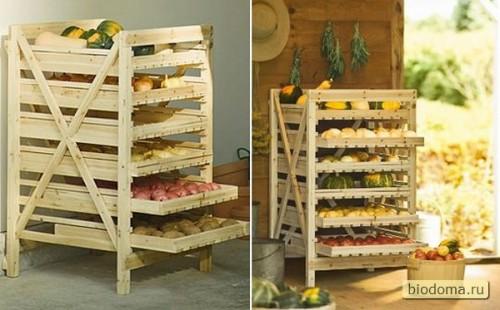 Тоже классный вариант, но не такой простой в изготовлении уже. Сделать из деревянных поддонов полки для хранения овощей и фруктов в тот же погреб заманчиво, но не факт, что быстро получится все...