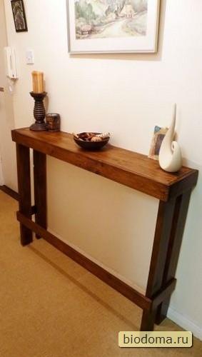 Если деревянным поддон распилить и перекомпоновать, может получиться такой оригинальный столик у стены - вроде бы и полочка, а вроде бы и нет :)